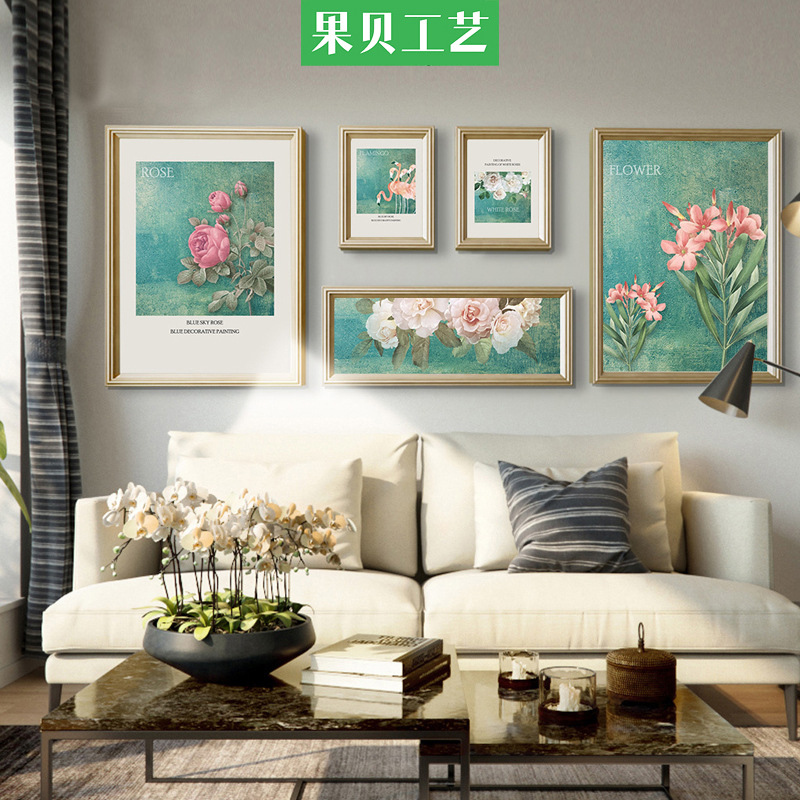 北欧美式照片墙客厅沙发背景墙组合装饰画欧式古典花卉室内有框画