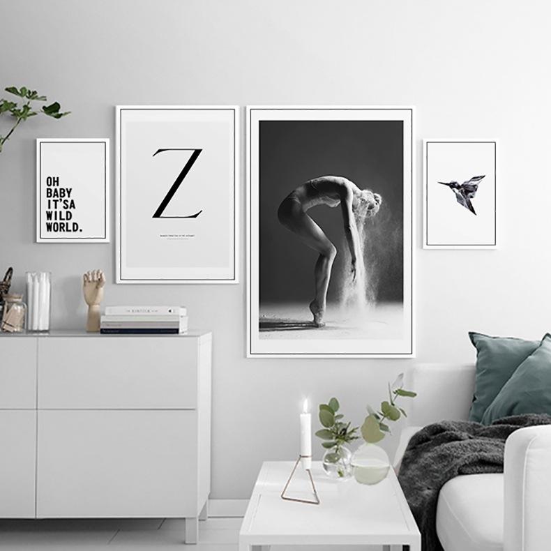 北欧美发字母人物挂画风景照片墙动物装饰画现代黑白创意简约墙画