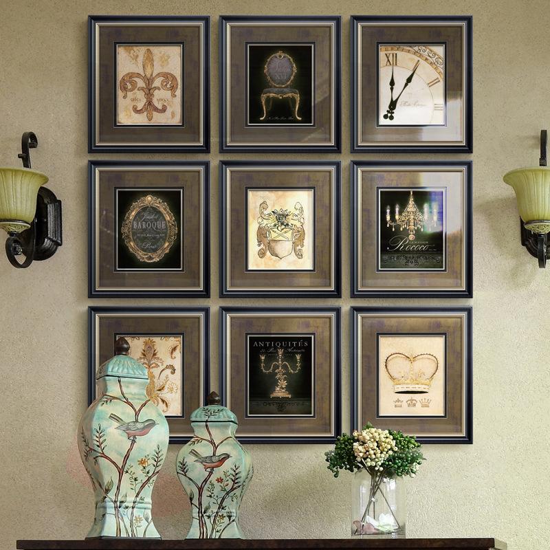 美式复古照片墙装饰画书房客厅组合艺术挂画现代简约欧式餐厅壁画
