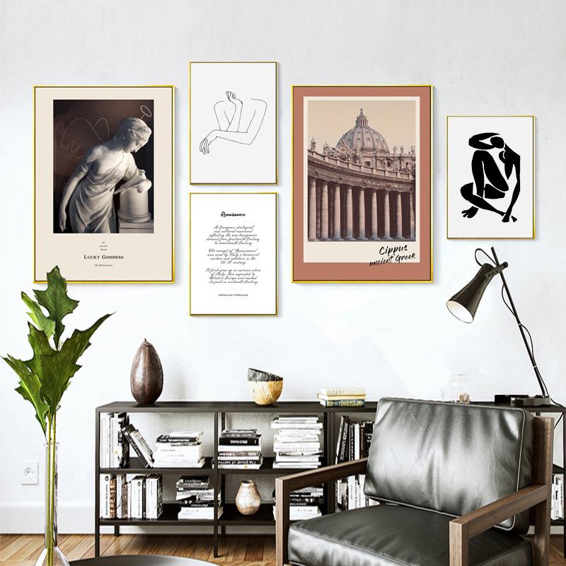 轻奢装饰画复古小众抽象北欧风格挂画照片墙组合沙发背景墙壁画