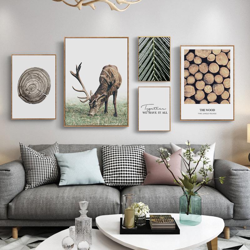 北欧麋鹿装饰画沙发背景照片墙客厅组合小清新抽象卧室床头挂画
