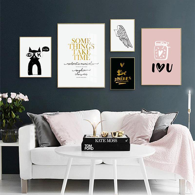 小众个性装饰画沙发背景墙照片墙组合黑白个性北欧字母卧室挂画