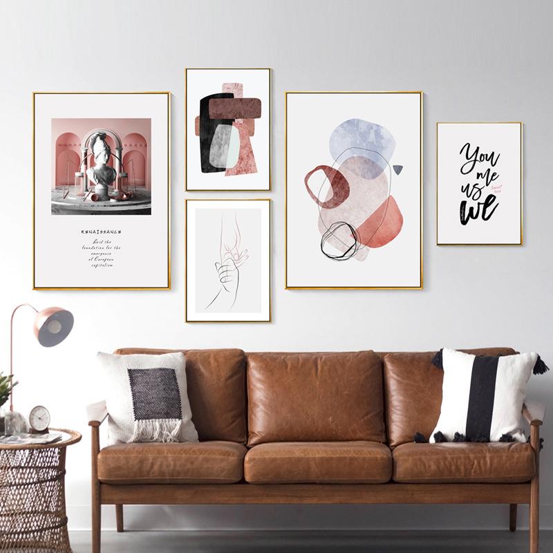 粉色温馨装饰画北欧小清新组合抽象照片墙客厅卧室床头五联壁画