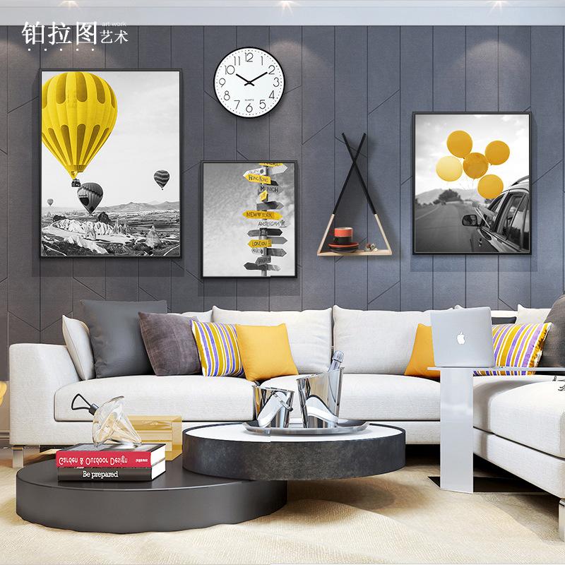 大气装饰画照片墙客厅组合挂画沙发背景画餐厅黑白创意风景画批发