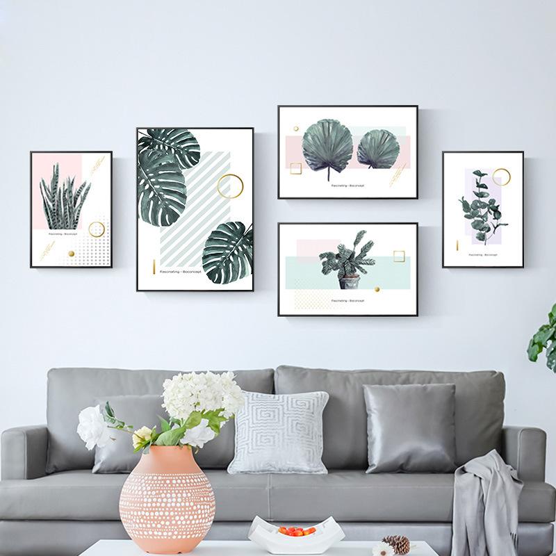 绿植组合照片墙北欧风格客厅装饰画沙发背景墙壁画Ins样板房挂画