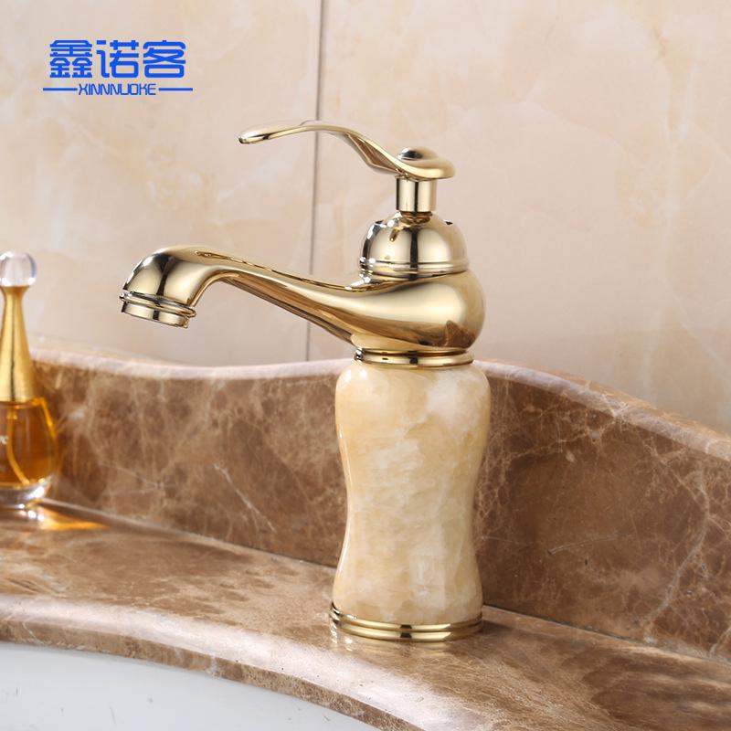 欧式浴室仿古面盆水龙头铜冷热黄玉石水龙头厂家批发金色神灯龙头