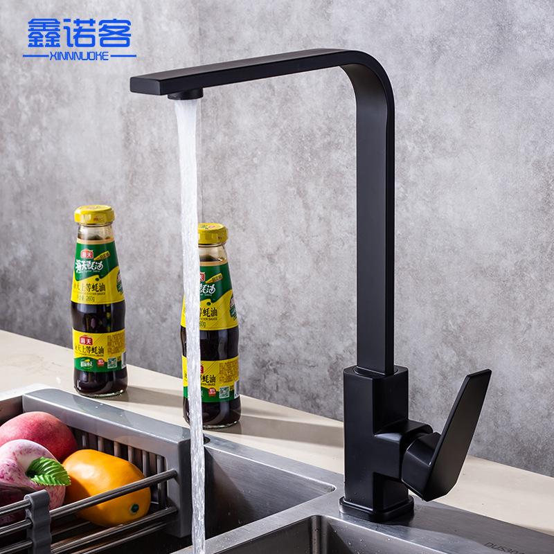 orb七字厨房冷热水龙头铜材冷热洗菜盆水槽龙头欧式黑色一件代发