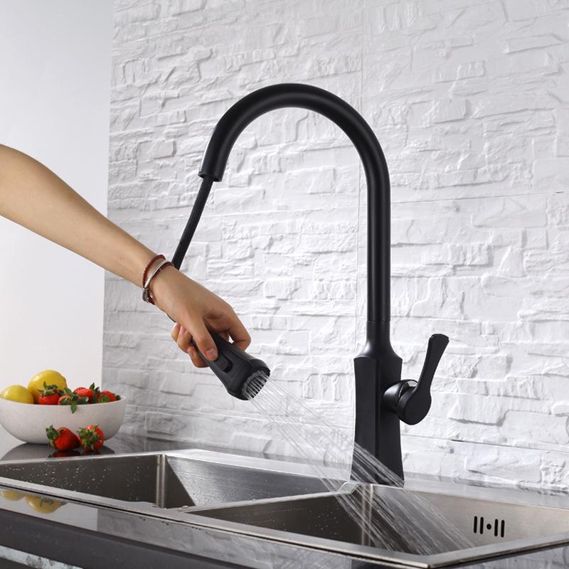 厂家直销铜黑色抽拉厨房水龙头冷热洗碗池洗菜盆可旋转水槽龙头
