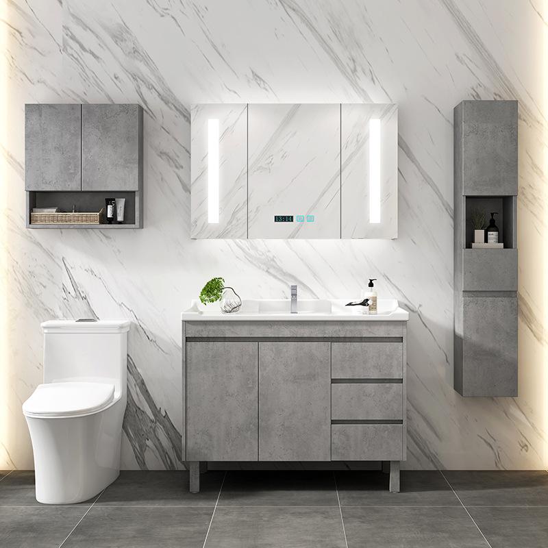 曼高卫浴厂家直销 轻奢灰色洗手台洗手盆镜柜组合实木落地浴室柜