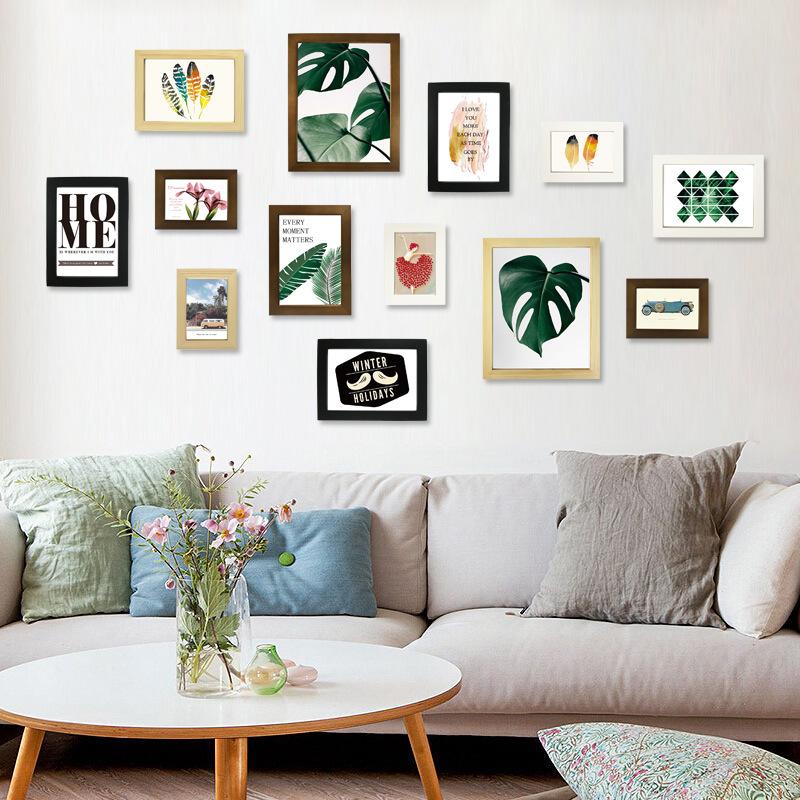 实木相框组合沙发背景照片墙儿童房装饰墙北欧式简约创意风格
