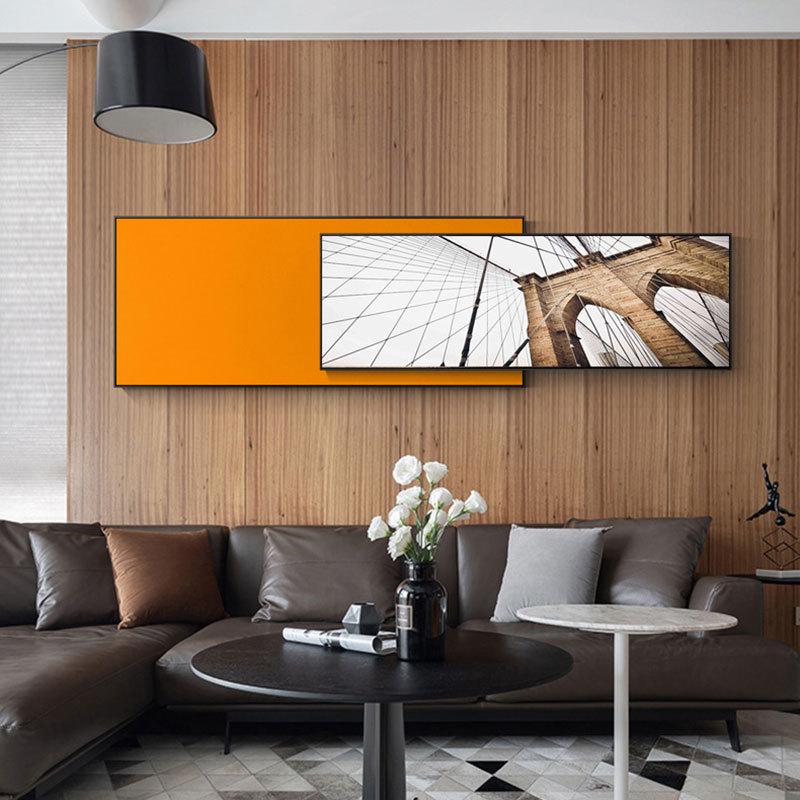 北欧客厅装饰画现代简约卧室床头挂画黑白建筑大幅沙发背景墙壁画