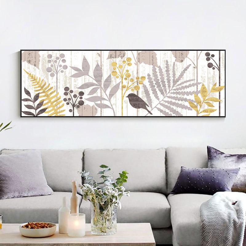 美式乡村田园客厅装饰画 现代床头卧室挂画横幅怀旧复古花鸟壁画