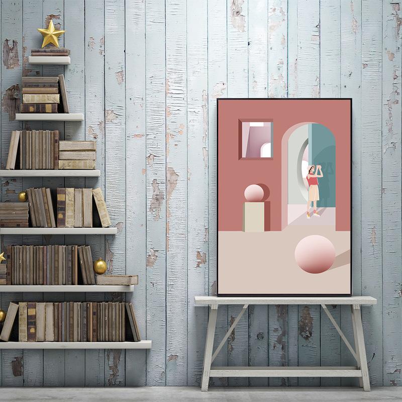 北欧莫兰迪建筑客厅装饰画现代简约酒店文艺复古挂画免打孔电表画