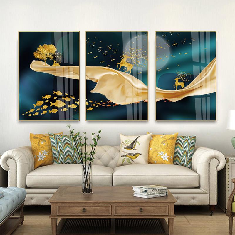 代发镶钻晶瓷画现代高档轻奢三联抽象挂画客厅装饰画铝合金框壁画