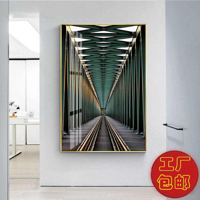 现代简约空间艺术客厅装饰画黑白空间罗马建筑玄关挂画酒店晶瓷画