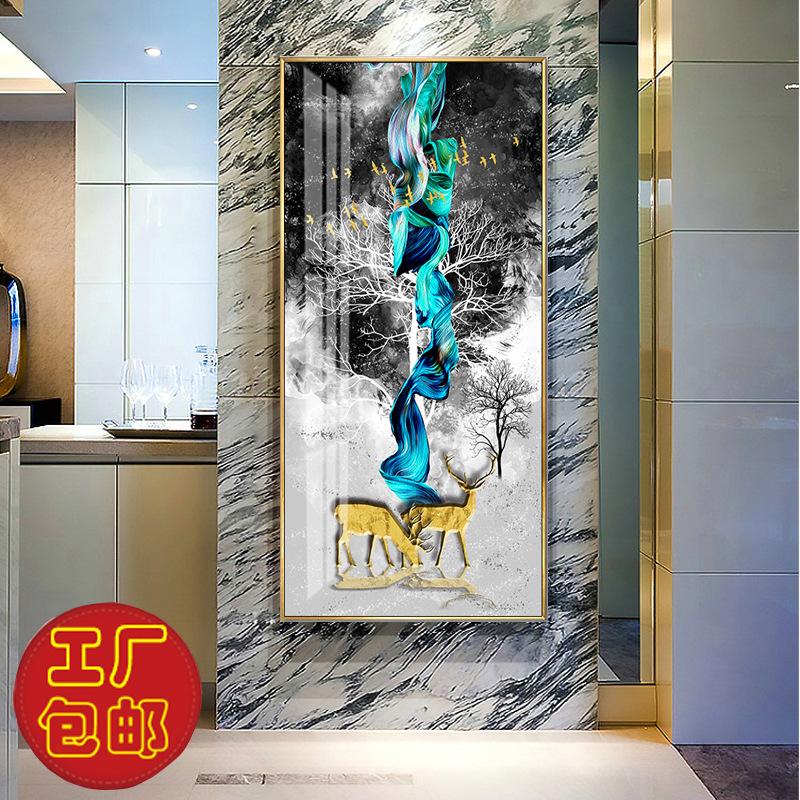 新中式玄关装饰钻石画现代家居挂画走道书房油画定制中国风晶瓷画
