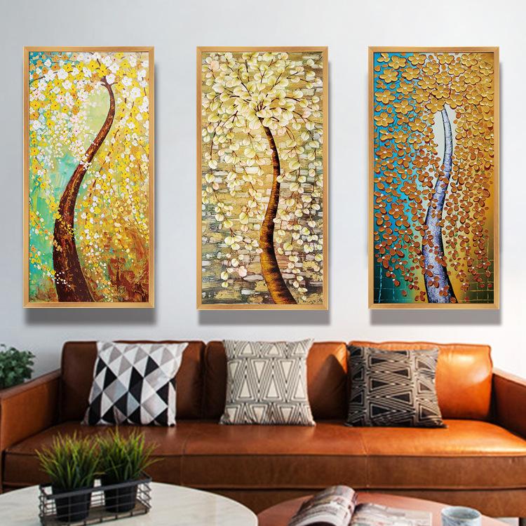 代发发财树油画书房客厅电表箱装饰画酒店现代壁画繁枝颂三联挂画