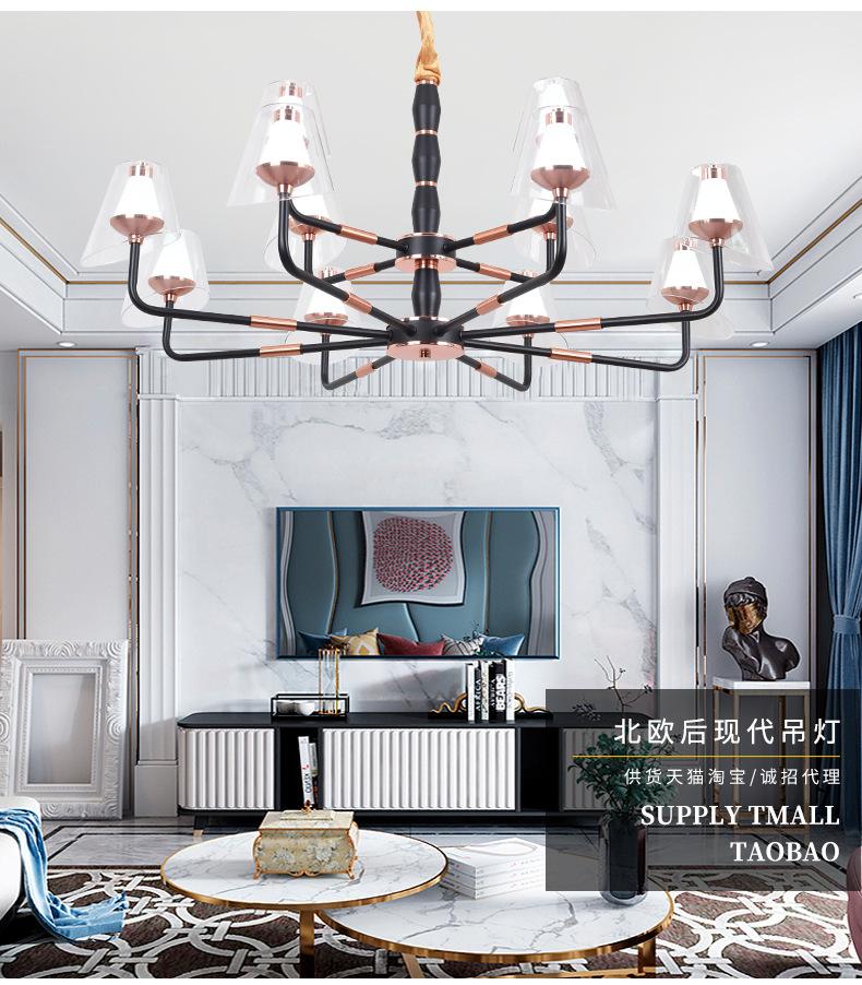 led客厅吊灯简约后现代轻奢个性卧室吊灯北欧新款客厅餐厅灯具