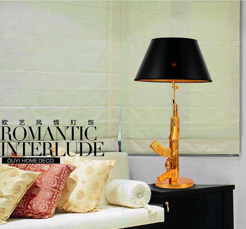 LED个性创意现代简约冲锋枪落地灯客厅餐厅书房卧室床头灯具灯饰