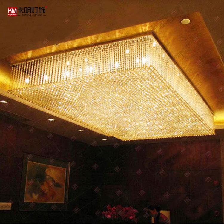 非标定制灯具酒店工程灯大型长方形现代水晶灯豪华大堂水晶吸顶灯