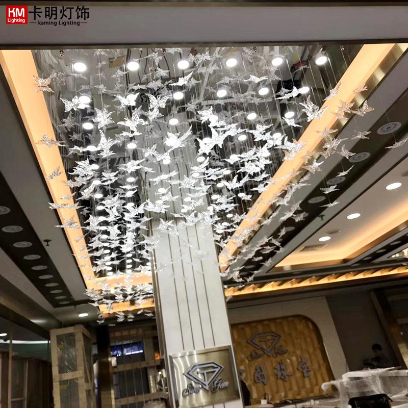 高档大气酒店珠宝店吊灯售楼部沙盘KTV大厅蝴蝶装饰灯具非标定制
