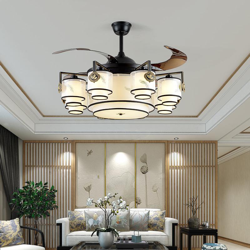 新中式风扇灯42寸隐形扇叶三色变光LED6档变频遥控家用布艺吊扇灯