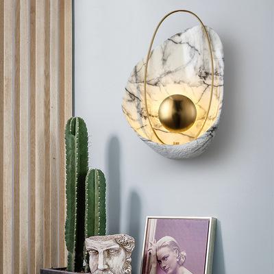 北欧壁灯后现代设计创意贝壳造型客厅卧室床头过道走廊轻奢铜壁灯