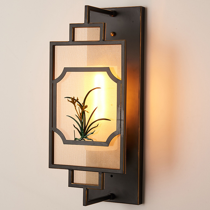 新中式床头灯时尚创意灯具卧室客厅过道l中国风壁画灯一件代发
