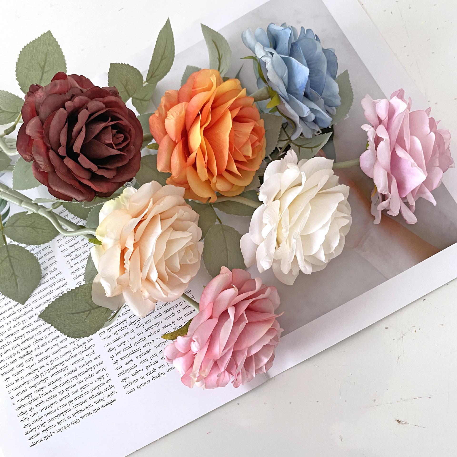 厂家优惠批发仿真花欧式油画布单支玫瑰绢花拍照假花婚庆家装摆件