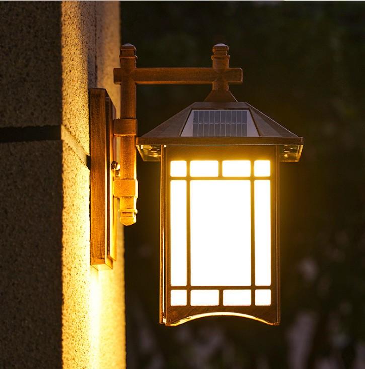 中式复古户外防水小区走廊壁灯室外小区阳台灯太阳能LED庭院壁灯