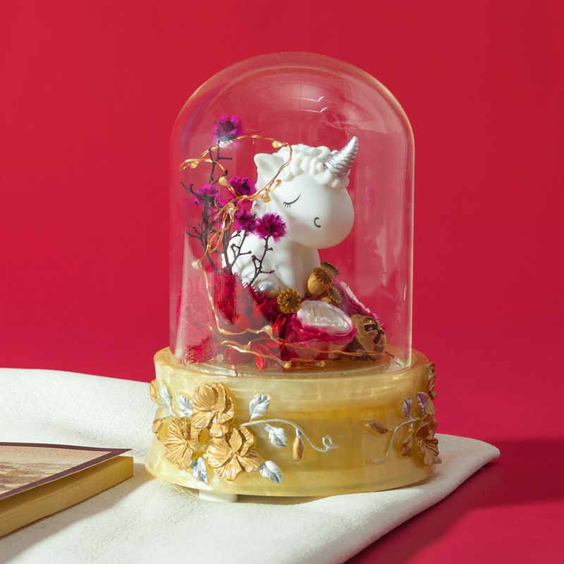 一件代发永生花发光玻璃罩独角兽蓝牙音箱七夕情人节礼物送女友