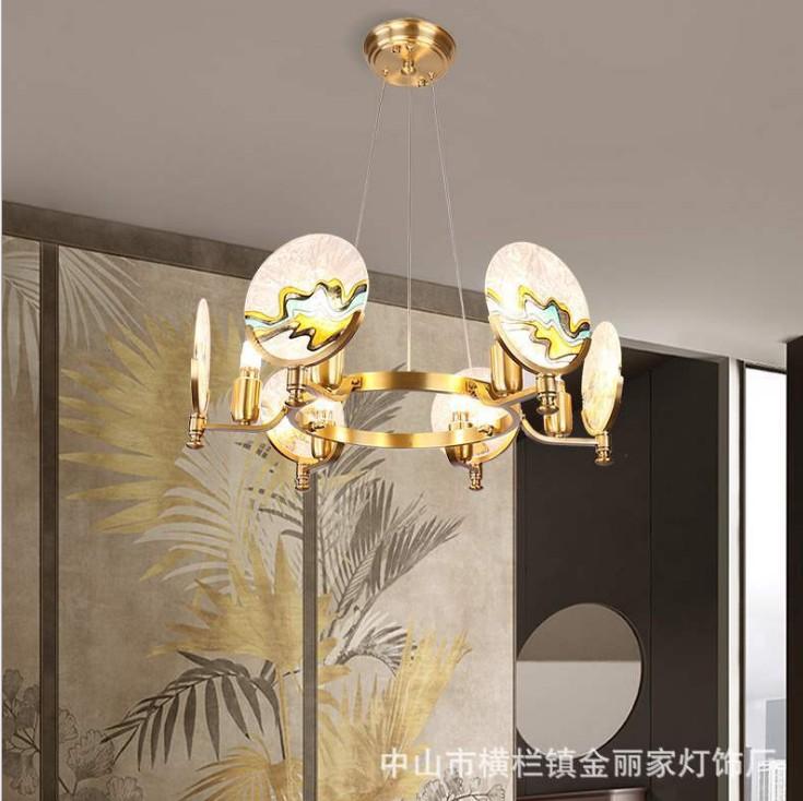 全铜新中式客厅吊灯中国风禅意大厅书房大气家用卧室餐厅茶室灯具