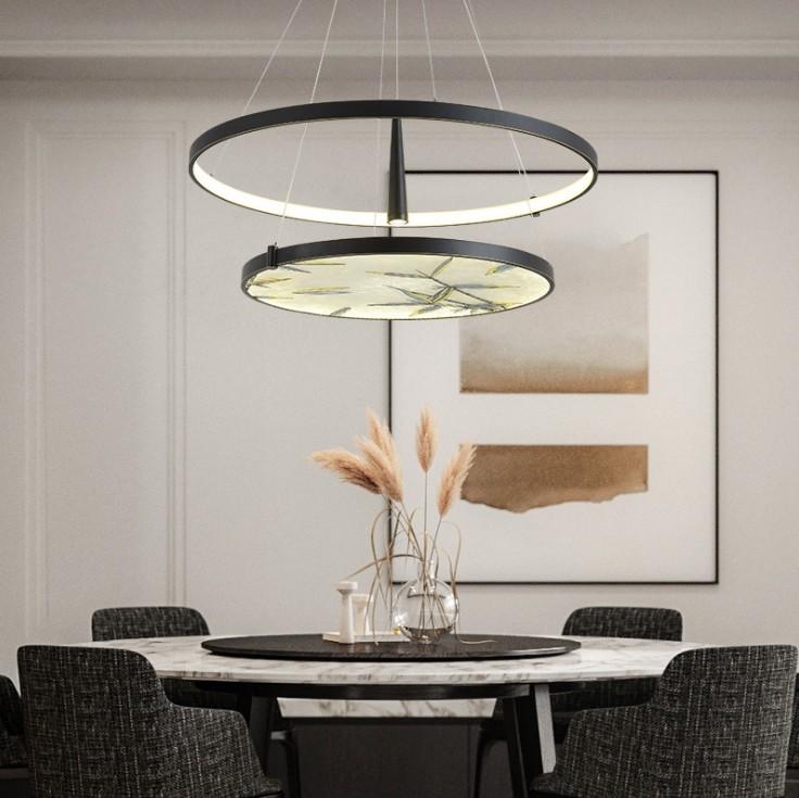 后现代餐厅轻奢吊灯新中式珐琅彩茶水间灯具现代简约客厅长形灯具