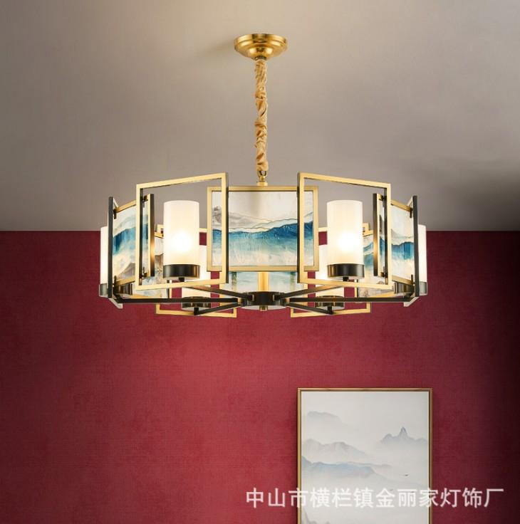 新中式客厅吊灯现代简约珐琅彩全铜餐厅灯设计师个性轻奢卧室灯具